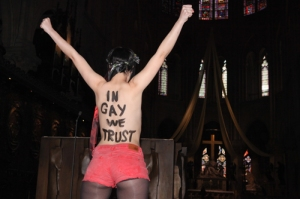 Femen Activist Protests In Notre-Dame Cathedral - Paris