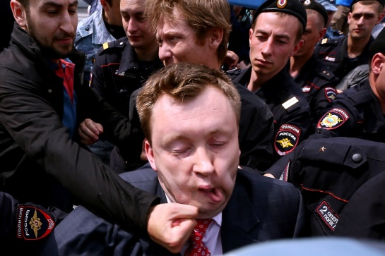 Nikolai Alexeyev during an gay rights activists rally in Moscow