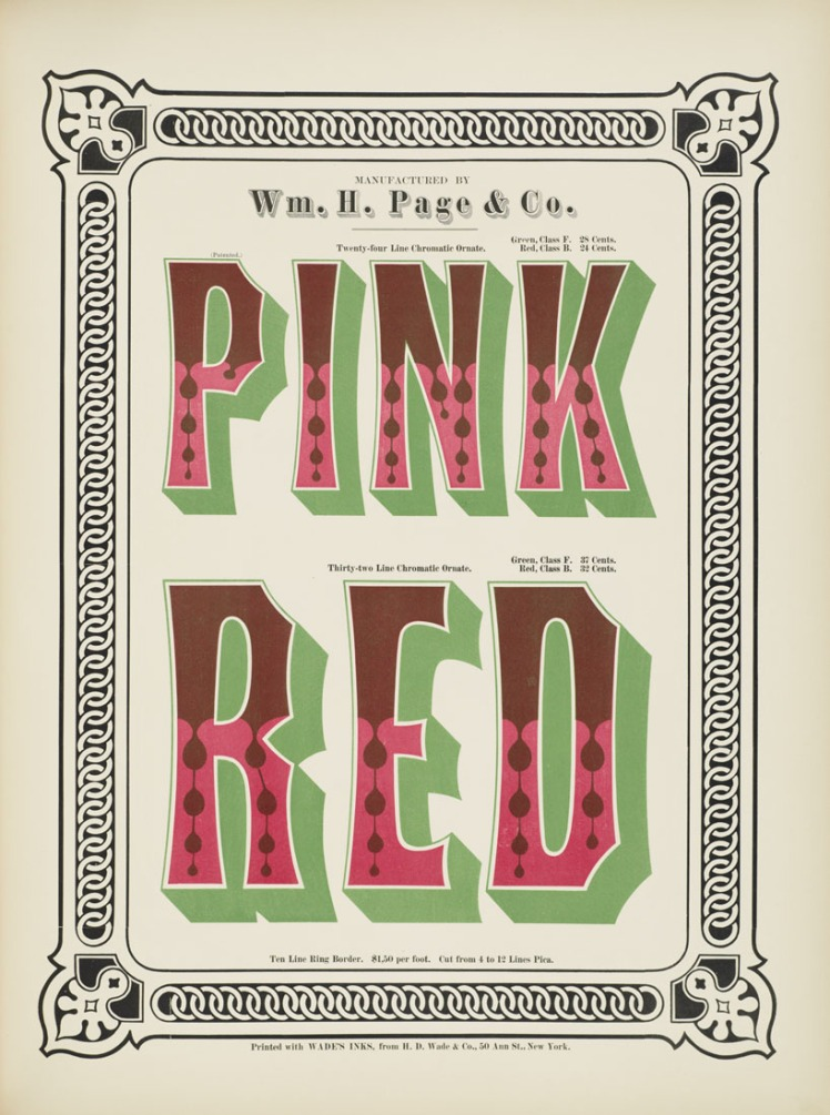 Specimens of Chromatic Wood Type  pink red