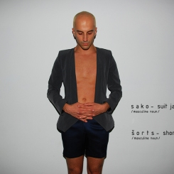 suit jacket + shorts