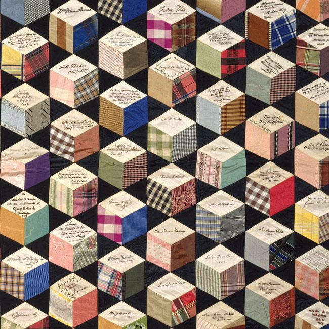Tumbling blocks Quilt, Adeline Harris Sears dtl 1