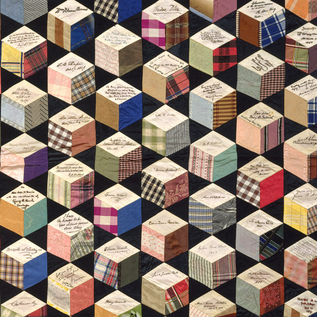 Tumbling blocks Quilt, Adeline Harris Sears dtl 1