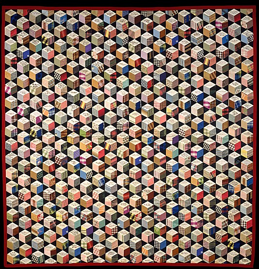 Tumbling blocks Quilt, Adeline Harris Sears