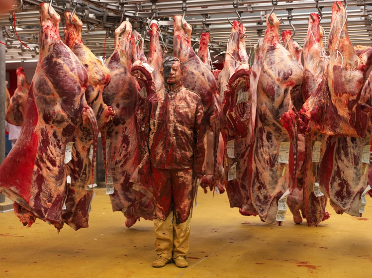 Liu Bolin, hiding in Paris meat factory