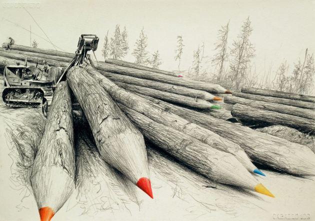 Paco Pomet El dibujante (Pastel pencil on paper. 30 x 42 cms. 2015)