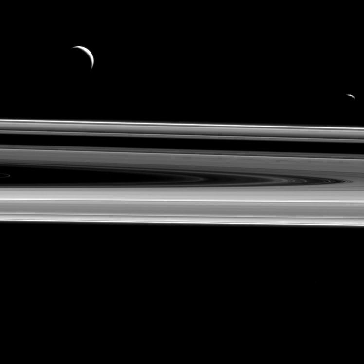 Saturn and moons Enceladus and Janus